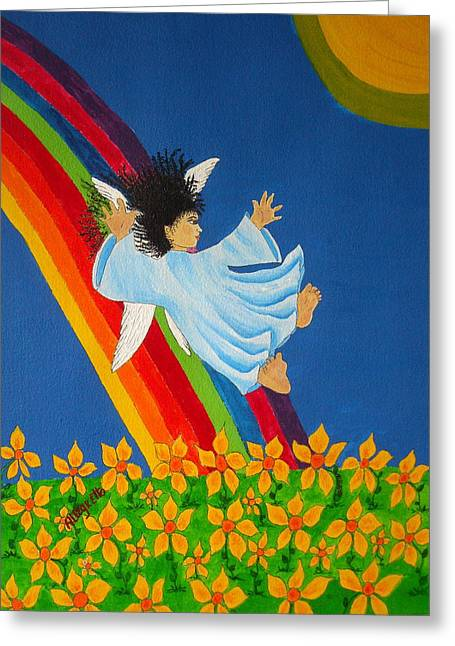 Angel Wings Mixed Media Greeting Cards - Sliding Down Rainbow Greeting Card by Pamela Allegretto