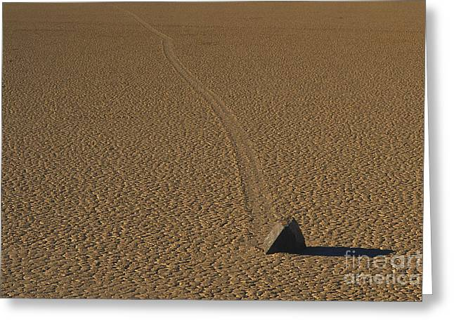 Moving Earth Greeting Cards - Sliding Rock On Racetrack Playa Greeting Card by George Ranalli