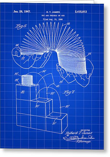 Toy Greeting Cards - Slinky Patent 1946 - Blue Greeting Card by Stephen Younts