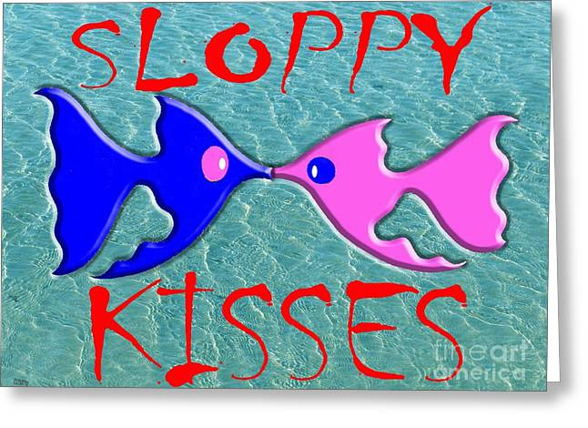 Cute Mixed Media Greeting Cards - Sloppy Kisses Greeting Card by Patrick J Murphy