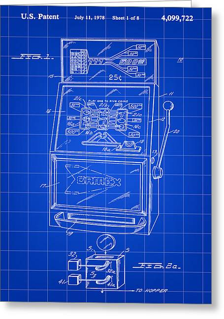 Basement Greeting Cards - Slot Machine Patent 1978 - Blue Greeting Card by Stephen Younts