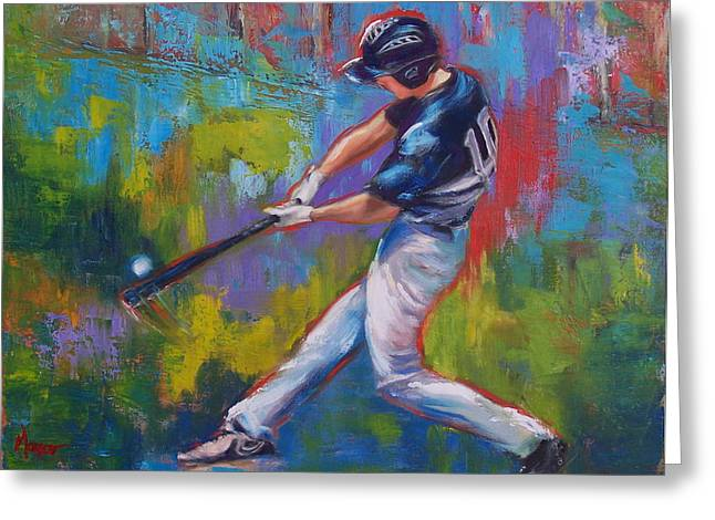 Hitter Paintings Greeting Cards - Slugger Greeting Card by Martha Manco
