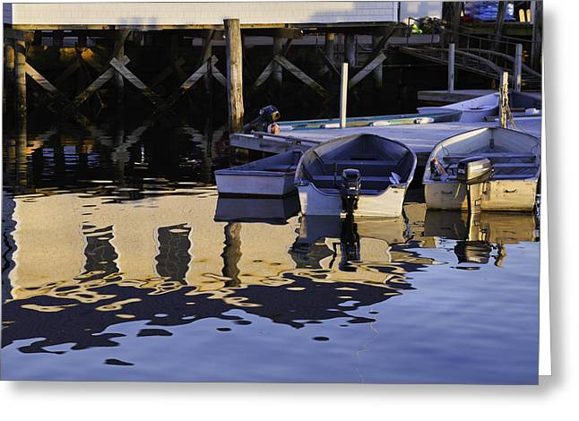 New England Village Scene Greeting Cards - Small Boats and Dock in Port Clyde Maine Greeting Card by Keith Webber Jr