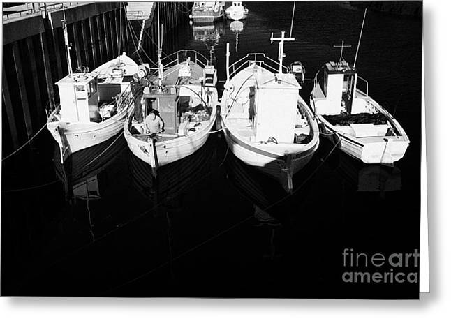 Fishing Creek Greeting Cards - small fishing boats in bunbeg harbour county Donegal Republic of Ireland Greeting Card by Joe Fox