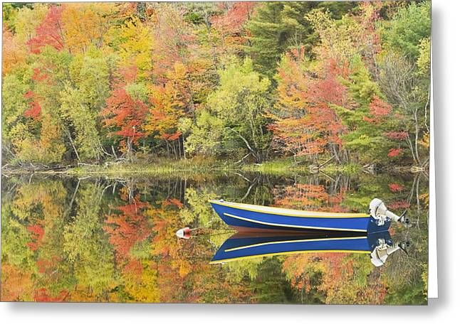 New England Wilderness Greeting Cards - Small Motor Boat in Fall Torsey Pond Readfield Maine Greeting Card by Keith Webber Jr