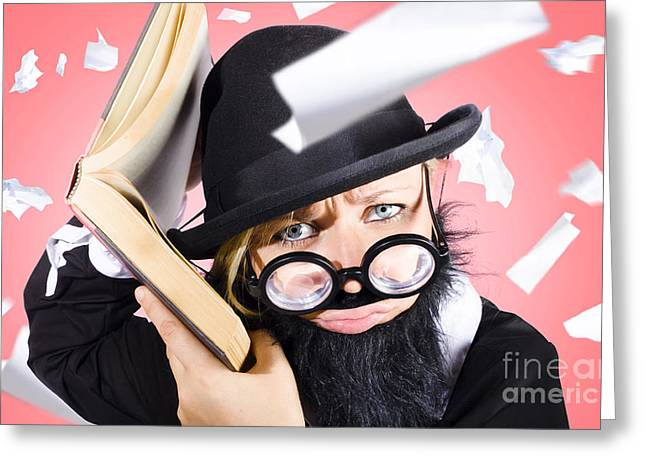 Smart Nerd Businessman Listening To Book Info Greeting Card by Jorgo Photography - Wall Art Gallery