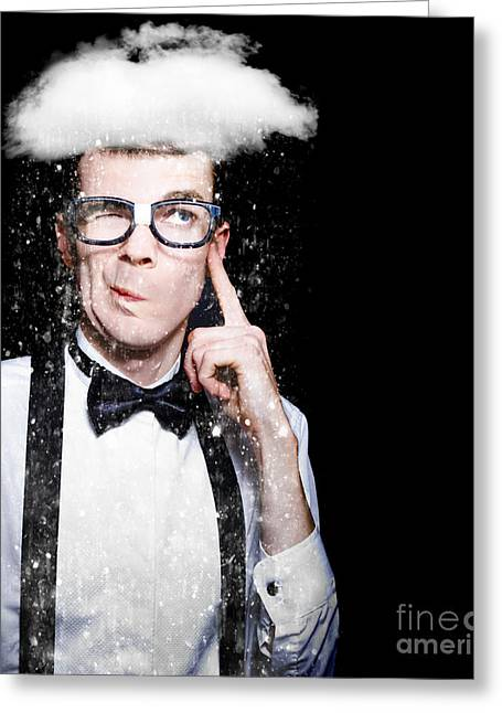Clever Greeting Cards - Smart Person Brainstorming Thought With Rain Cloud Greeting Card by Ryan Jorgensen