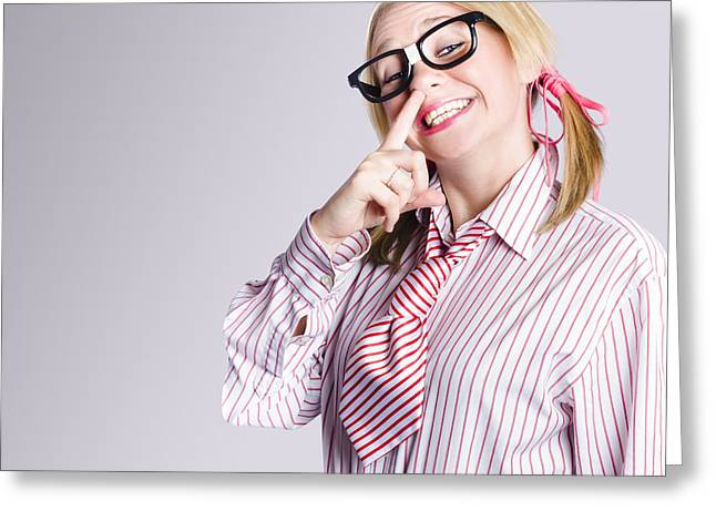 Smart Thinking Geek Girl Picking Her Brain Greeting Card by Jorgo Photography - Wall Art Gallery