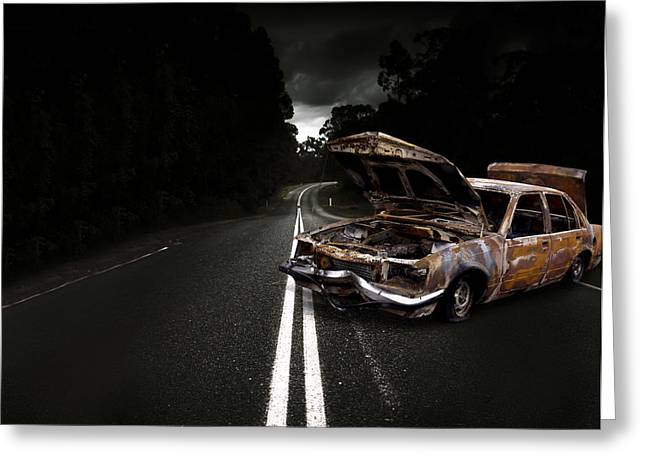 Smashed Up Car Wreck Greeting Card by Jorgo Photography - Wall Art Gallery