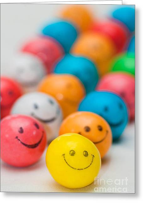Bubble Greeting Cards - Smiley Face Gum Balls Greeting Card by Amy Cicconi