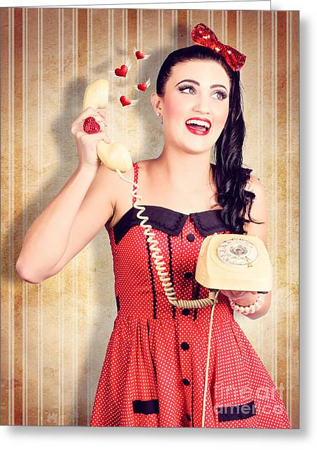 Pin-up Model Greeting Cards - Smiling beautiful woman in love talking on phone Greeting Card by Ryan Jorgensen