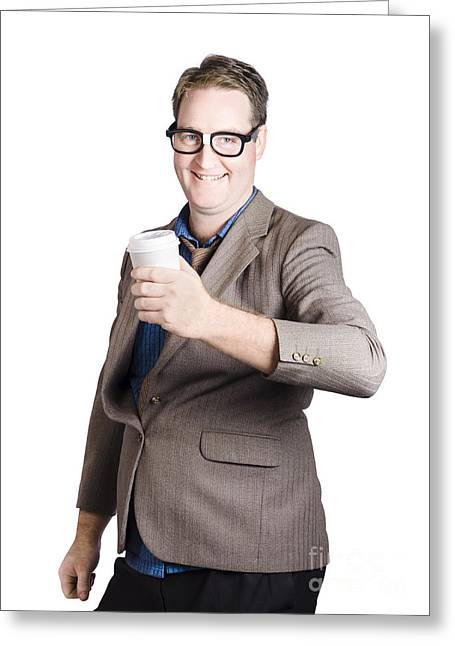 Untidy Greeting Cards - Smiling business man with coffee drink. Work break Greeting Card by Ryan Jorgensen
