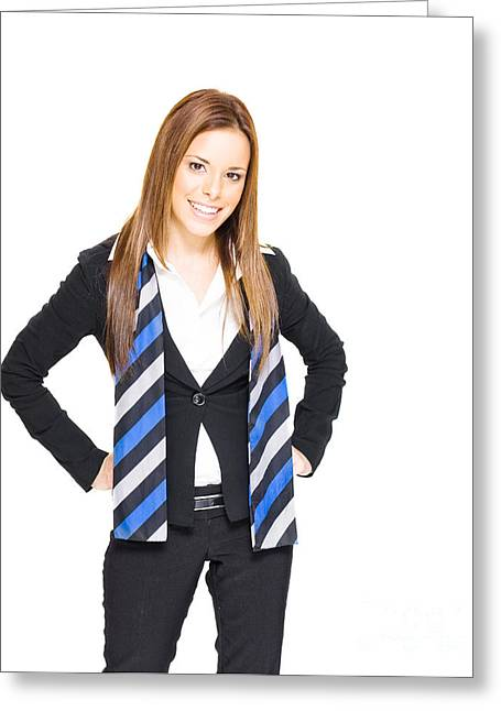 Smiling Business Woman Greeting Card by Jorgo Photography - Wall Art Gallery