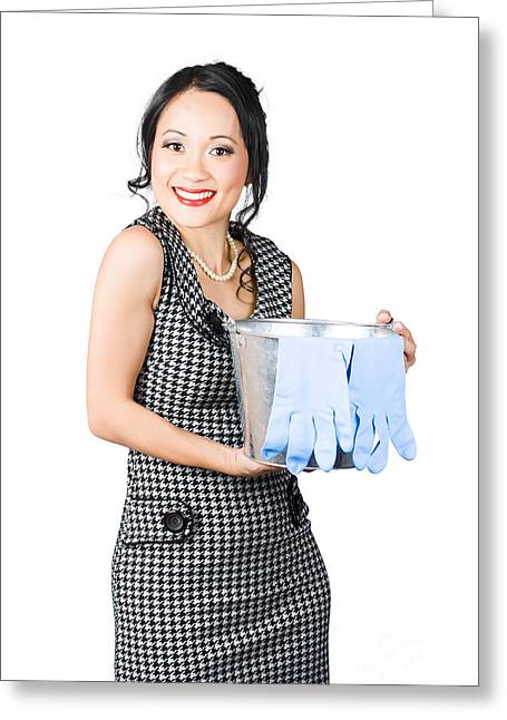 Hair-washing Greeting Cards - Smiling female cleaner ready to start housework Greeting Card by Ryan Jorgensen