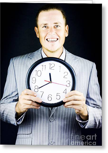 Completion Greeting Cards - Smiling man in suit holding a clock Greeting Card by Ryan Jorgensen
