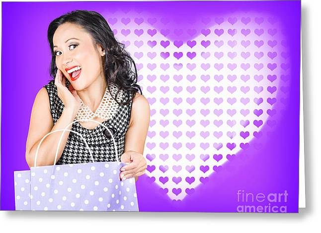 Woman Gift Greeting Cards - Smiling woman with a valentines day gift bag Greeting Card by Ryan Jorgensen