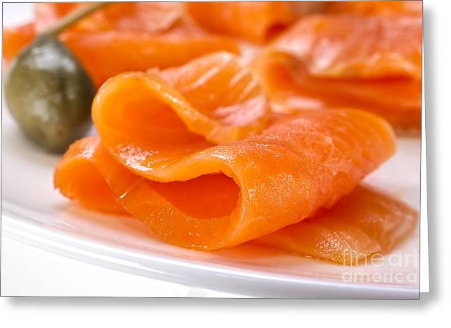 Salmon Photographs Greeting Cards - Smoked Salmon Greeting Card by Colin and Linda McKie