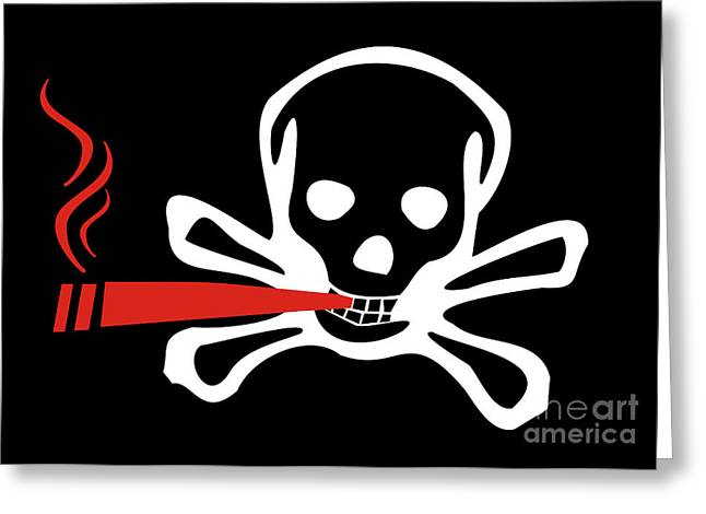 Smoker Skull And Crossbones Greeting Card by Jorgo Photography - Wall Art Gallery