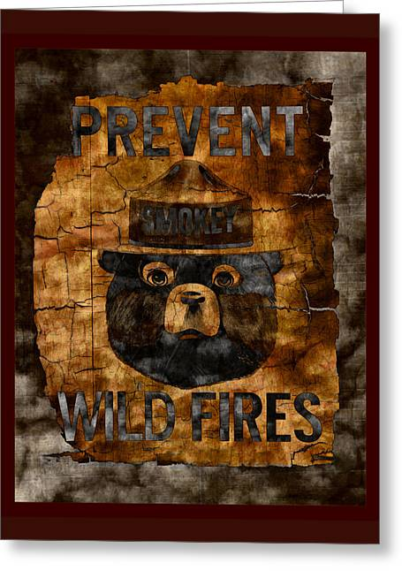 Us National Park Service Greeting Cards - Smokey The Bear - Only You Can Prevent Wild Fires Greeting Card by John Stephens