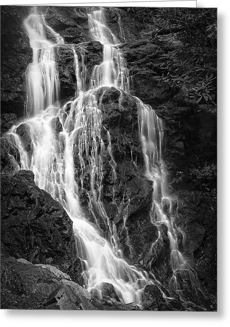 Nature Photo Framed Print Greeting Cards - Smokey Waterfall Greeting Card by Jon Glaser