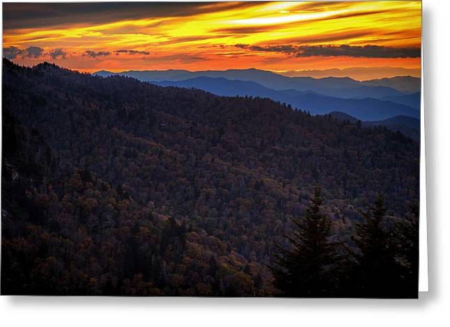 Blue Ridge Pyrography Greeting Cards - Smoky Mt Sunset Greeting Card by David Davis