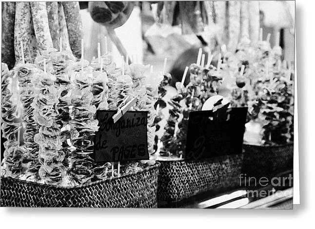Fresh Produce Greeting Cards - snack dried sausage on sticks inside the la boqueria market in Barcelona Catalonia Spain Greeting Card by Joe Fox