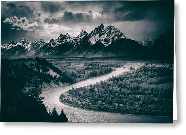 Dark Clouds. Greeting Cards - Snake River in the Tetons - 1930s Greeting Card by Ansel Adams