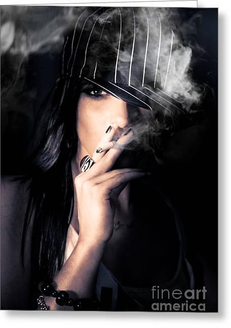 Engulfing Greeting Cards - Sneaky Smoke Greeting Card by Ryan Jorgensen