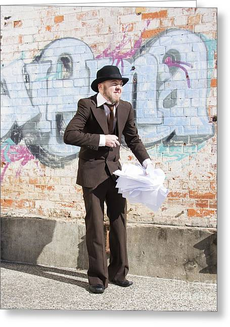 Sniggering Salesman Greeting Card by Jorgo Photography - Wall Art Gallery