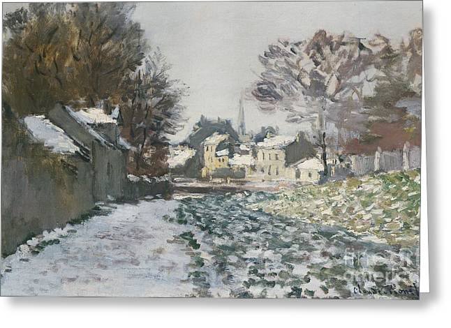 Wintry Greeting Cards - Snow at Argenteuil Greeting Card by Claude Monet
