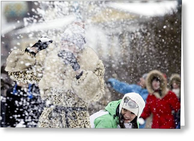 Snowball Fight Greeting Cards - Snow battle, Russia Greeting Card by Science Photo Library