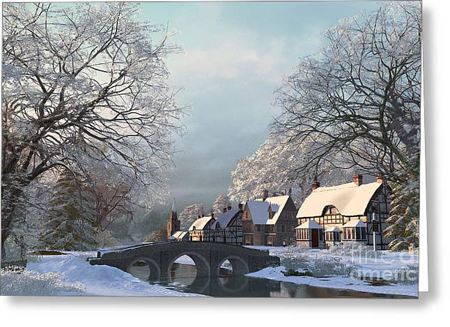 Stream Digital Art Greeting Cards - Snow Best Greeting Card by Dominic Davison