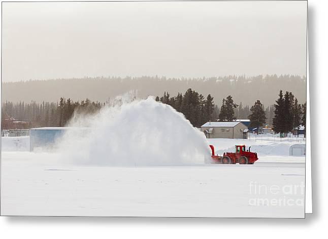 Working Conditions Greeting Cards - Snow blower clearing road in winter storm blizzard Greeting Card by Stephan Pietzko