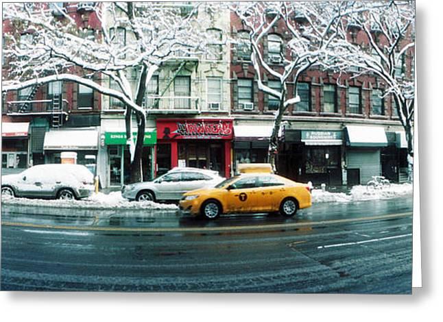 Union Square Photographs Greeting Cards - Snow Covered Cars Parked On The Street Greeting Card by Panoramic Images