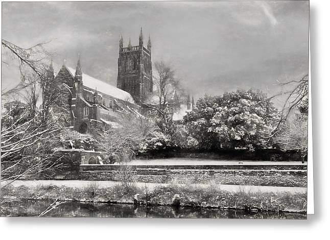 Winter Photos Drawings Greeting Cards - Snow Covered Cathedral 2 Greeting Card by Roy Pedersen