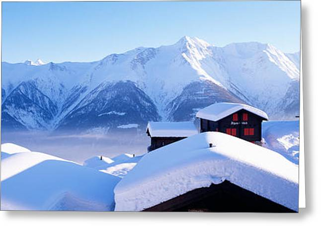 Snow Capped Greeting Cards - Snow Covered Chapel And Chalets Swiss Greeting Card by Panoramic Images
