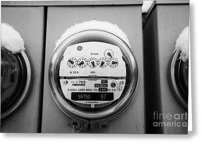 snow covered electricity meters in Saskatoon Saskatchewan Canada Greeting Card by Joe Fox