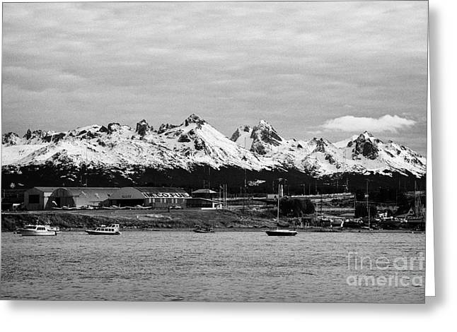 Snow-covered Landscape Greeting Cards - snow covered hoste island mountains from Ushuaia Argentina Greeting Card by Joe Fox