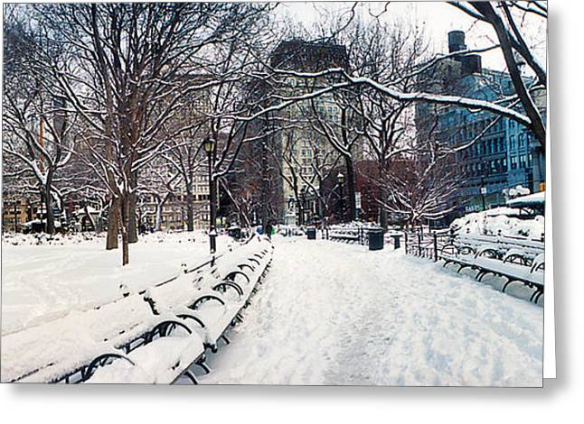 Union Square Photographs Greeting Cards - Snow Covered Park, Union Square Greeting Card by Panoramic Images