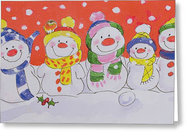 Snowman Christmas Card Greeting Cards - Snow Family  Greeting Card by Diane Matthes