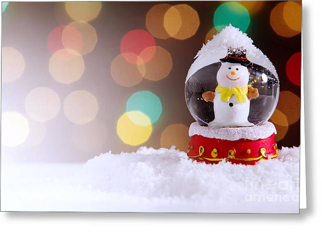 Glossy Greeting Cards - Snow Globe Greeting Card by Carlos Caetano