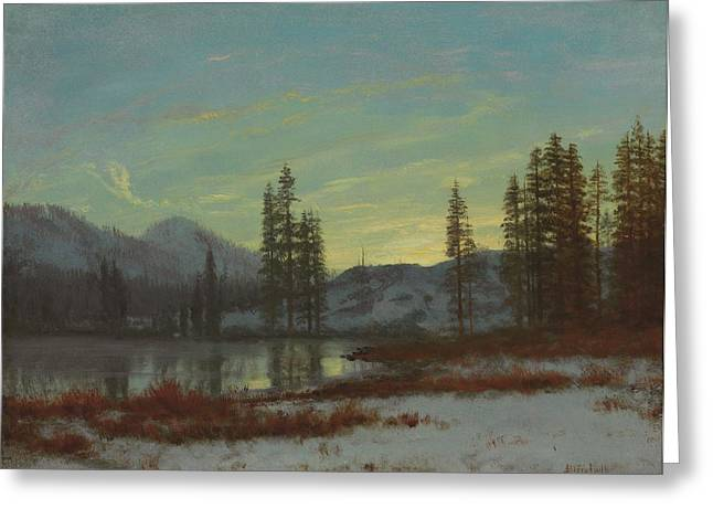 Mountain Greeting Cards - Snow in the Rockies Greeting Card by Albert Bierstadt