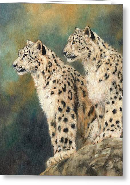 Snow Leopard Greeting Cards - Snow Leopards Greeting Card by David Stribbling