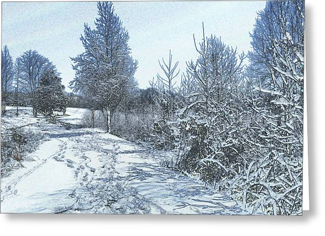 Paul Lyndon Phillips Greeting Cards - Snow Near Goose feather Pond - c1449k Greeting Card by Paul Lyndon Phillips