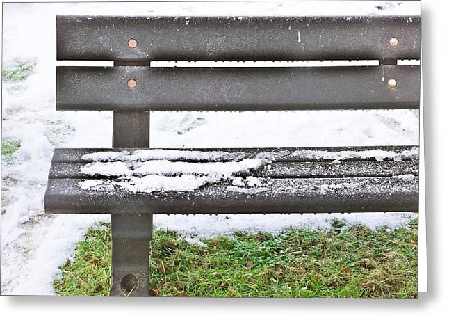 Lawn Chair Greeting Cards - Snow on bench Greeting Card by Tom Gowanlock
