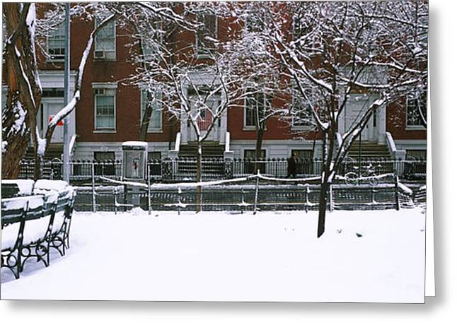 Bare Trees Greeting Cards - Snowcapped Benches In A Park Greeting Card by Panoramic Images