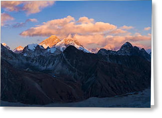 Mountain Greeting Cards - Snowcapped Mountain Peaks, Mt Everest Greeting Card by Panoramic Images