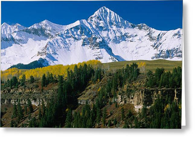 Mountain Greeting Cards - Snowcapped Mountains On A Landscape Greeting Card by Panoramic Images