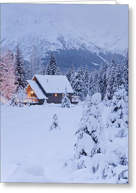 Wintry Greeting Cards - Snowcovered Home In A Wintry Meadow At Greeting Card by Jeff Schultz