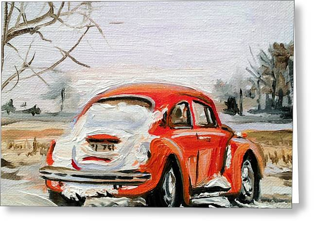 Vw Beetle Greeting Cards - Snowed In Greeting Card by Spencer Meagher